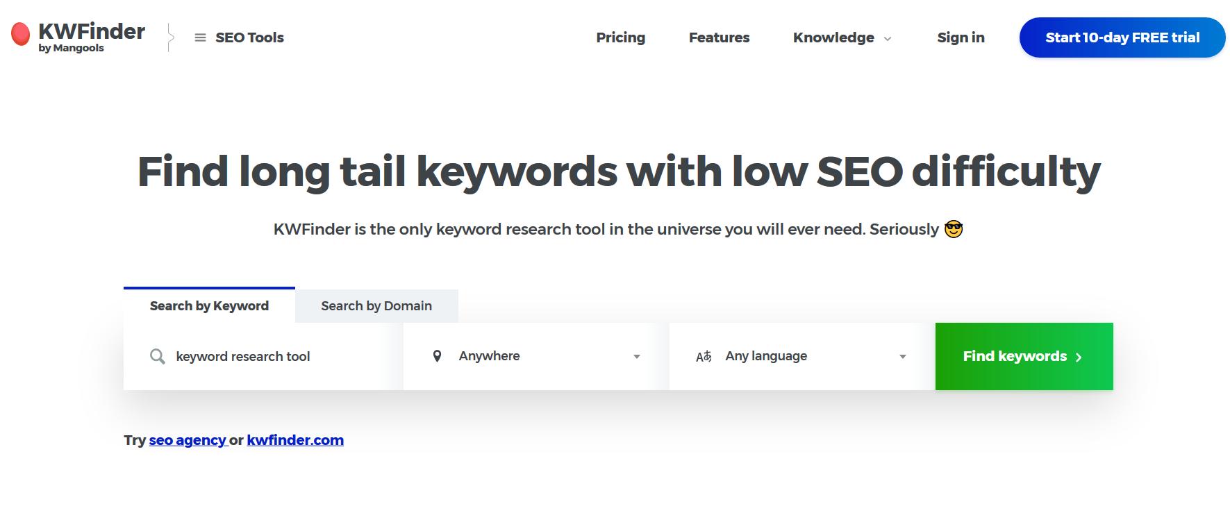 Keyword finder screenshot, keyword finder