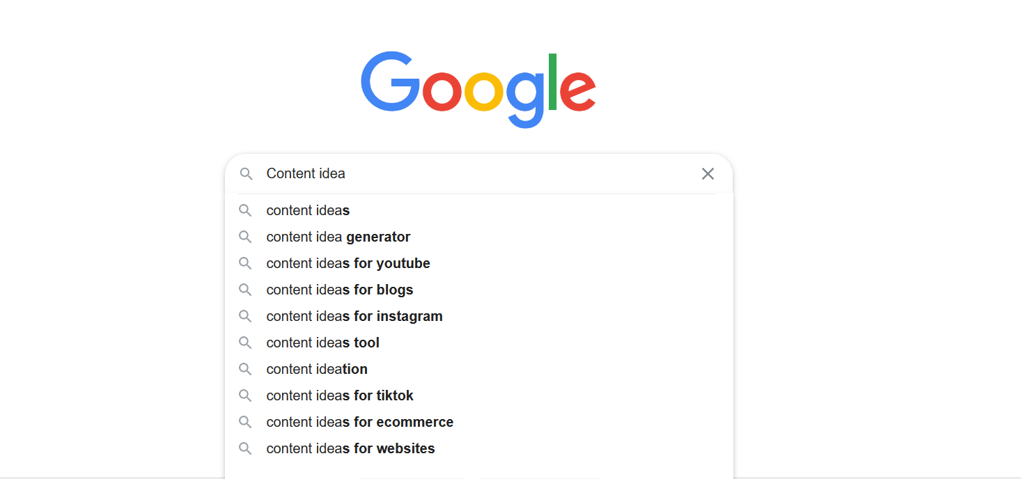 google suggestions, content idea creation
